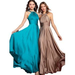Beaded Halter Empire Charmeuse Long Dress
